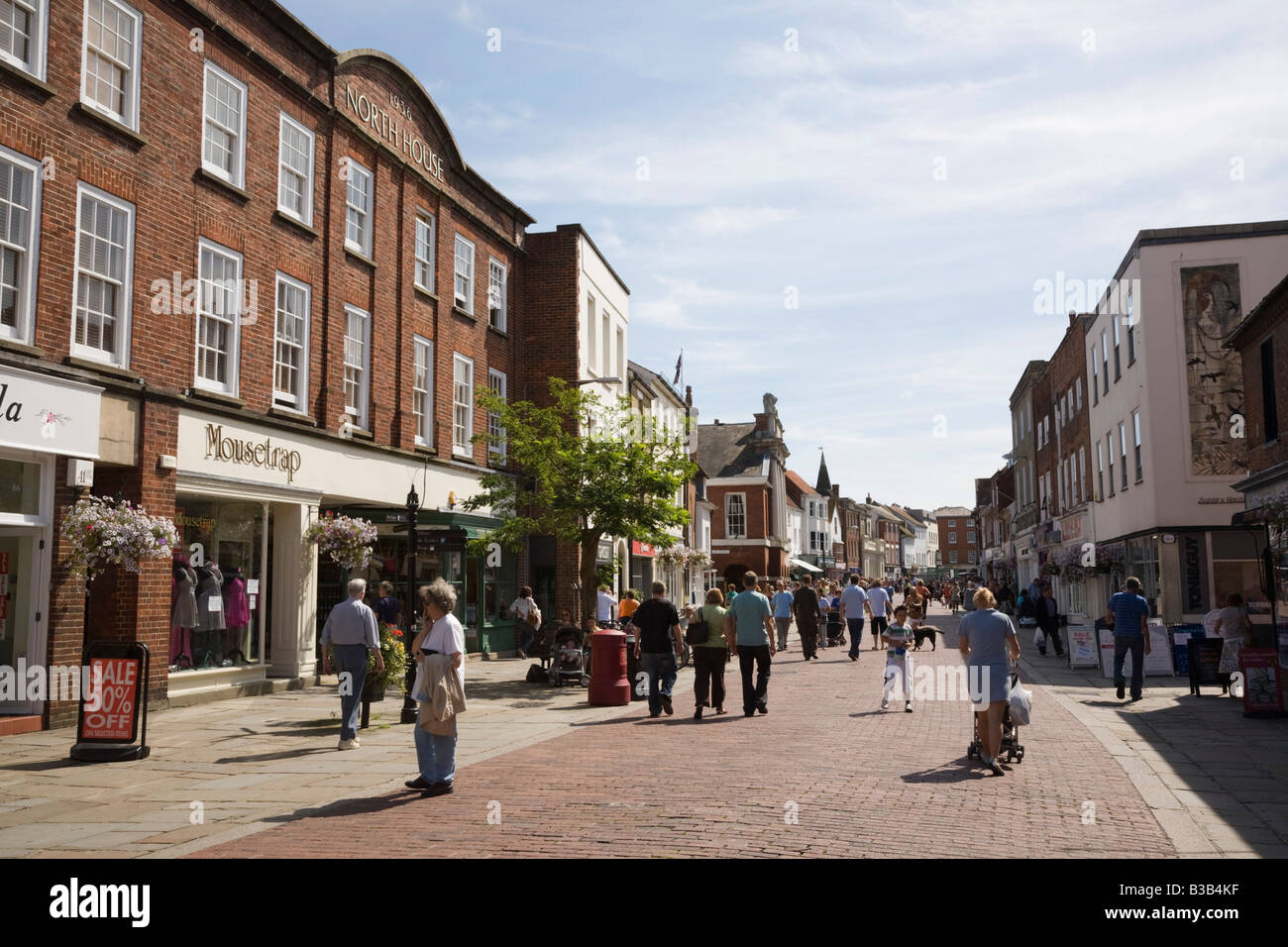 View along North Street pedestrian precinct in small city shopping centre. Chichester West Sussex England UK Britain Stock Photo