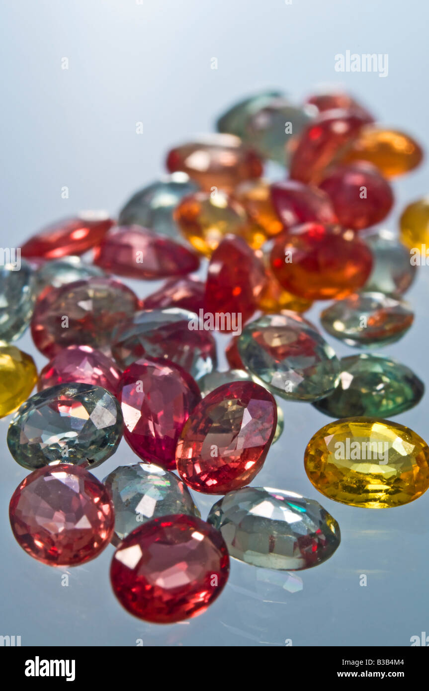 Multicoloured Sapphires (oval cut - natural) - Stock Image