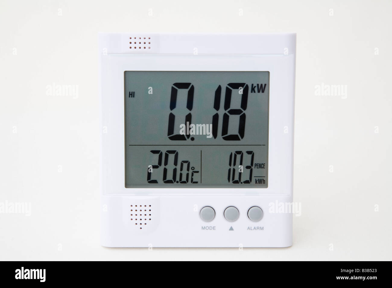 Wireless Owl electrical energy monitor with LCD display reading low number of kilowatts of domestic electricity - Stock Image