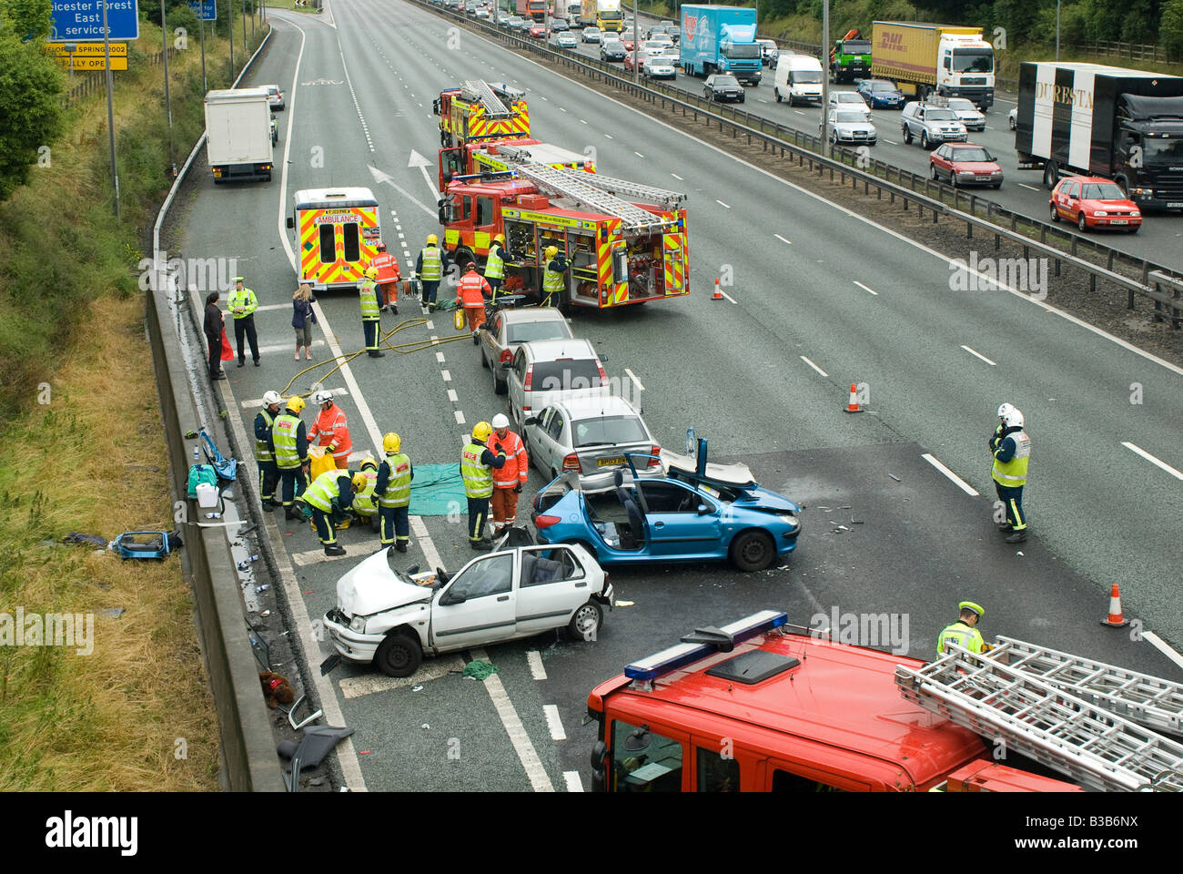 emergency services attending a nasty road traffic accident on a ...