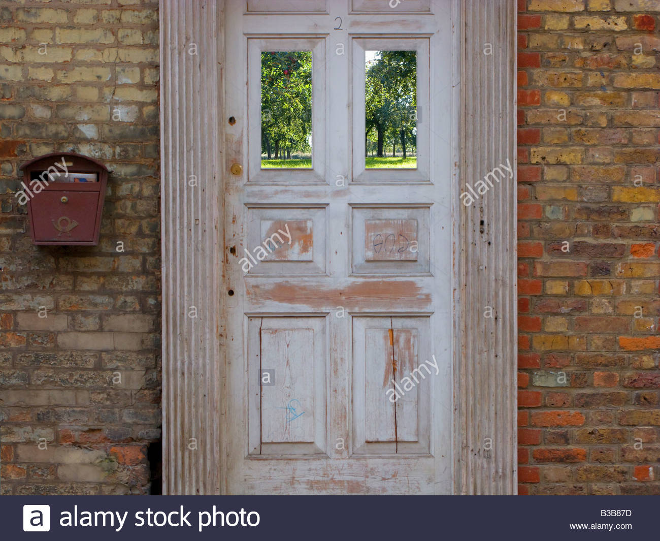 Old Fashioned Door And Brick House