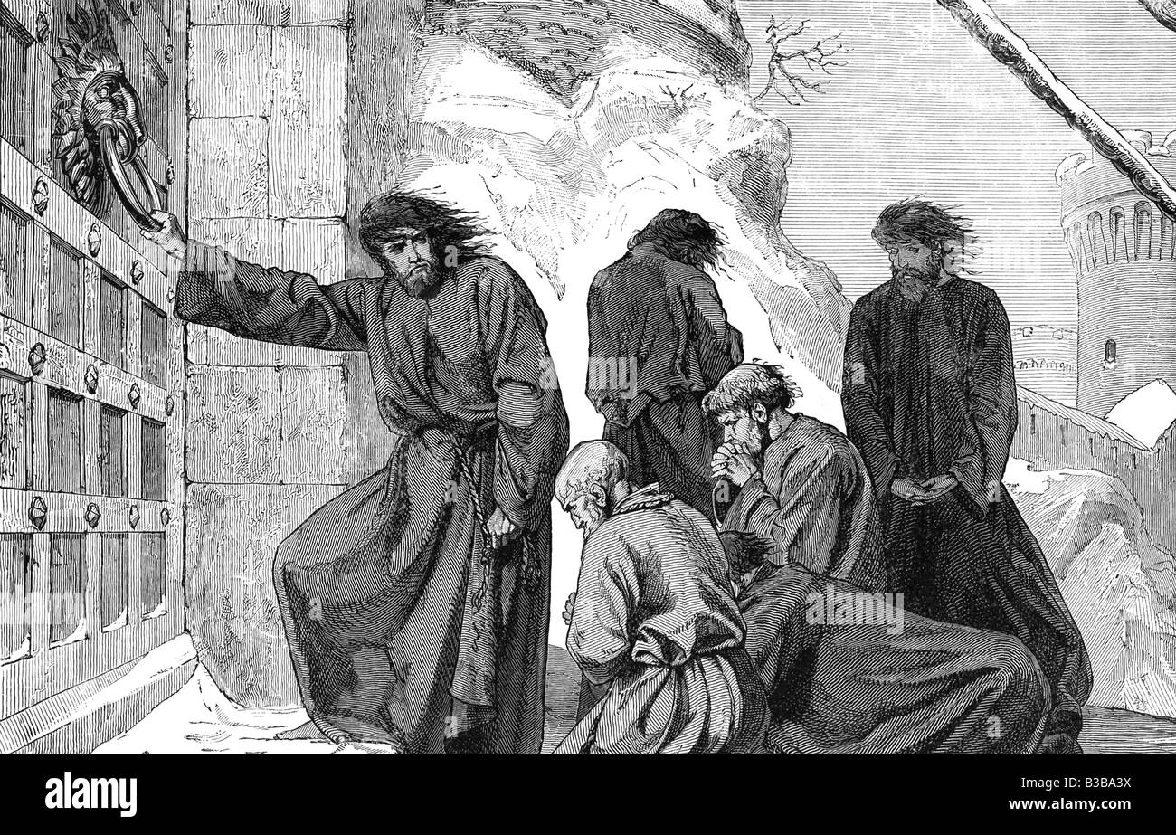 Henry Doing penance at Canossa - Stock Image