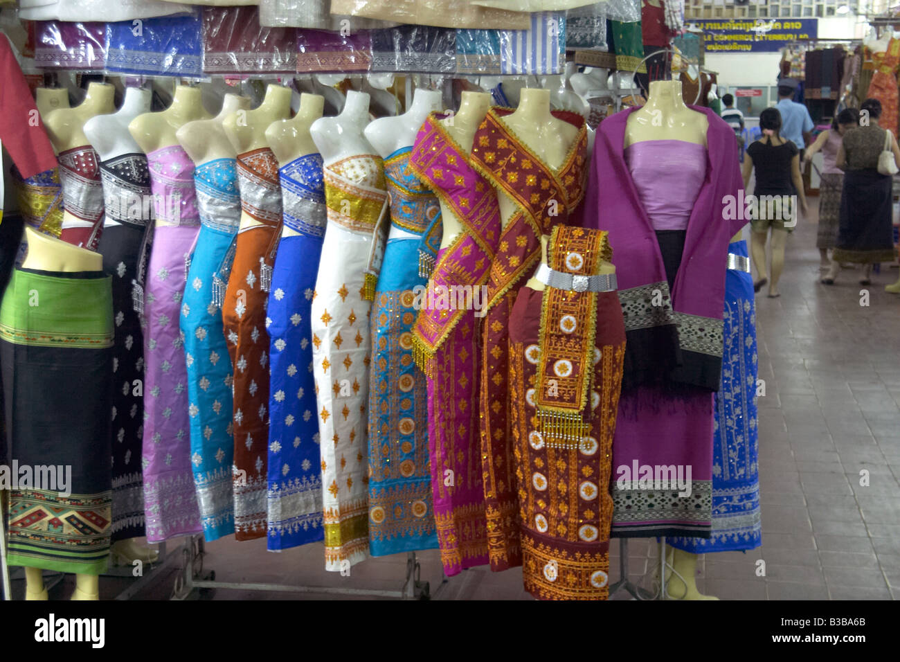 d943ece39730 Traditional Laotian clothing for sale at the day market in the city of  Vientiane
