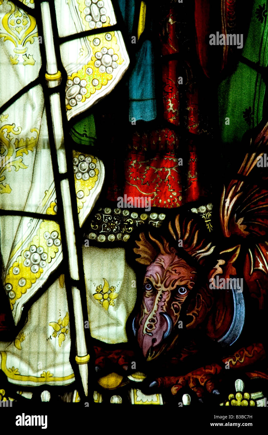 Satan portrayed as a dragon at the feet of St Margaret of Antioch St George church woolhope Herefordshire - Stock Image