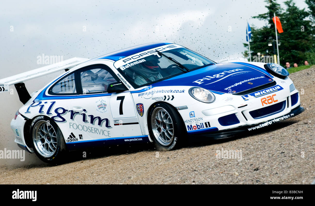 British Touring Car Porsche crashing - Stock Image