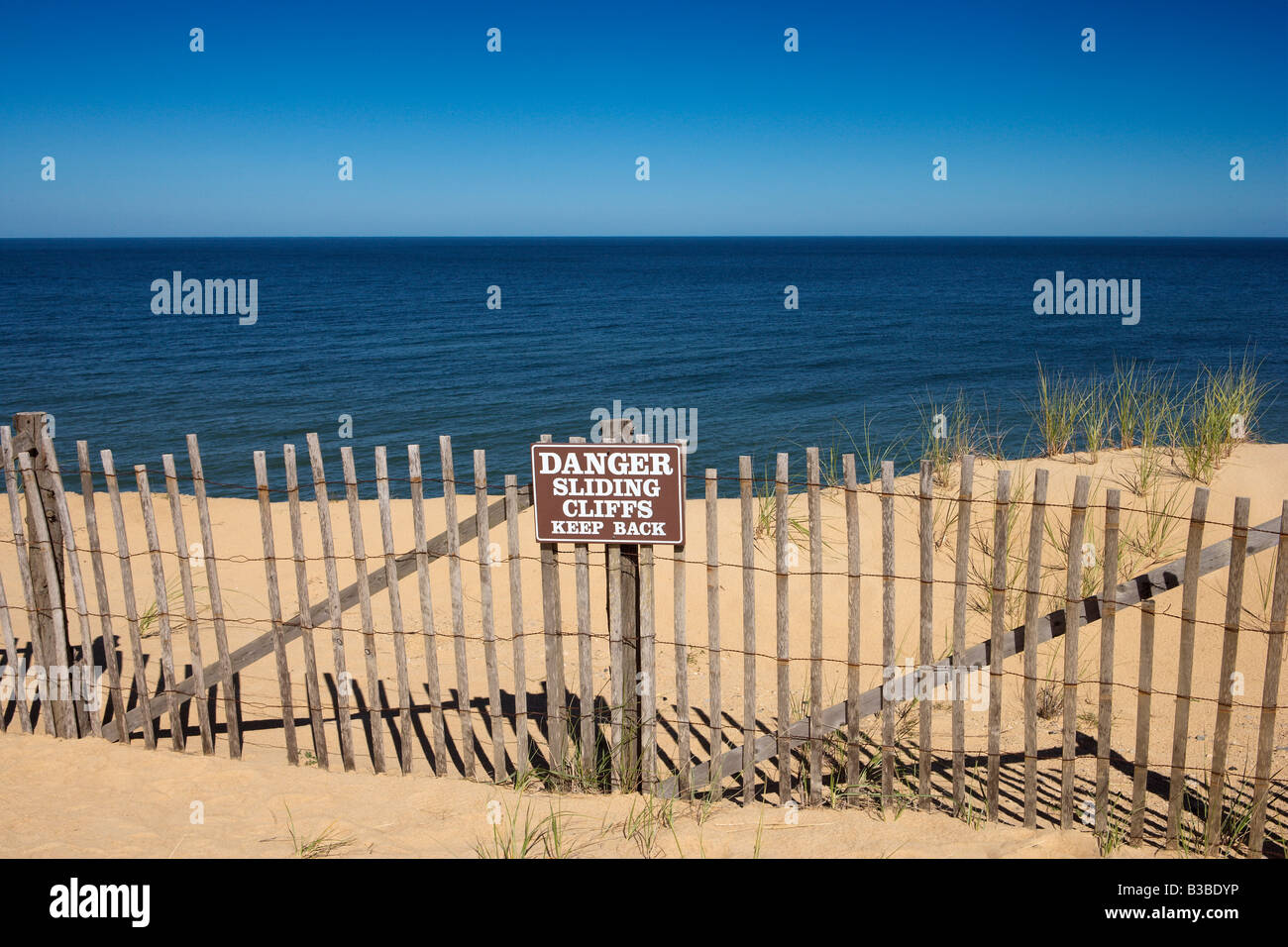Danger Sliding Cliffs Cape Cod Massachusetts - Stock Image