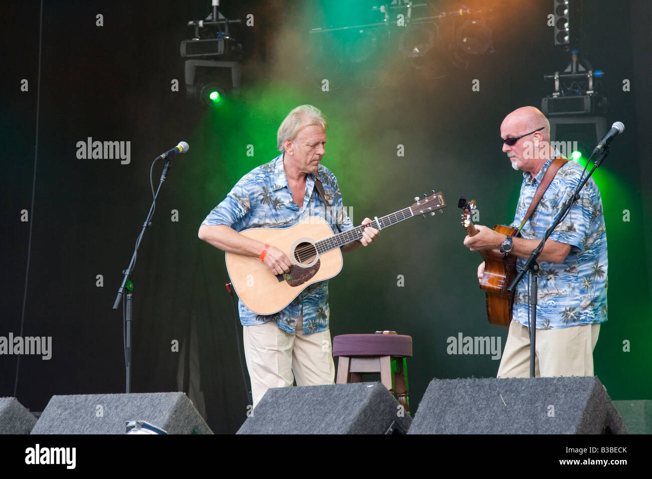 Dave Pegg and PJ Wright on stage at Fairport s Cropredy Convention music festival 2008 near Banbury England UK - Stock Image