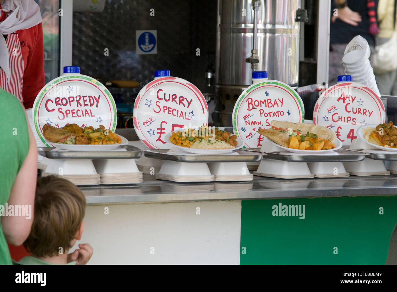 Indian food for sale at Fairport s Cropredy Convention music festival 2008 near Banbury England UK - Stock Image