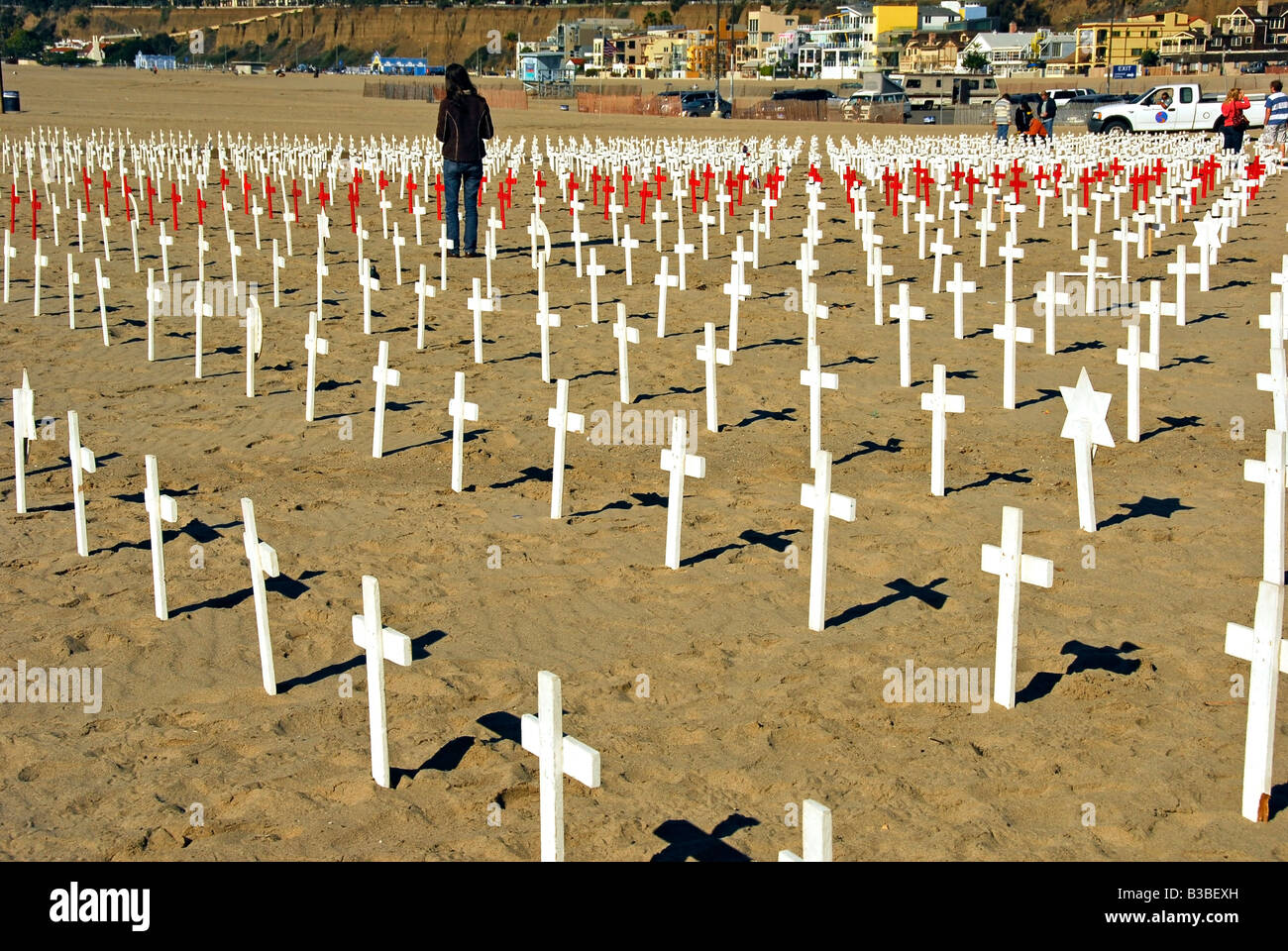 Arlington West memorial, Santa Monica Beach, California Ca Wooden Cross, Star of David,  crescents and Flag draped - Stock Image