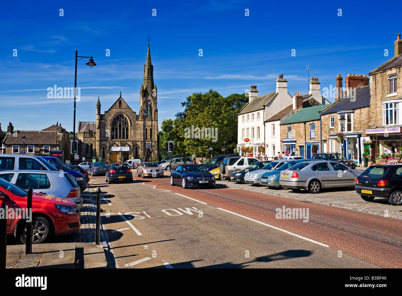 Galgate street in Barnard Castle town, Teesdale, County Durham, England, UK in summer - Stock Image