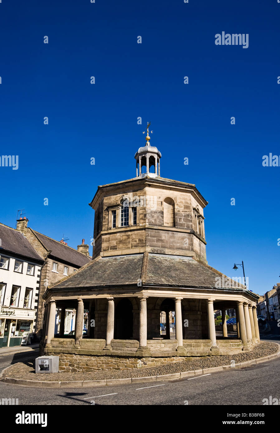 Old Market Cross in Barnard Castle in County Durham England UK - Stock Image