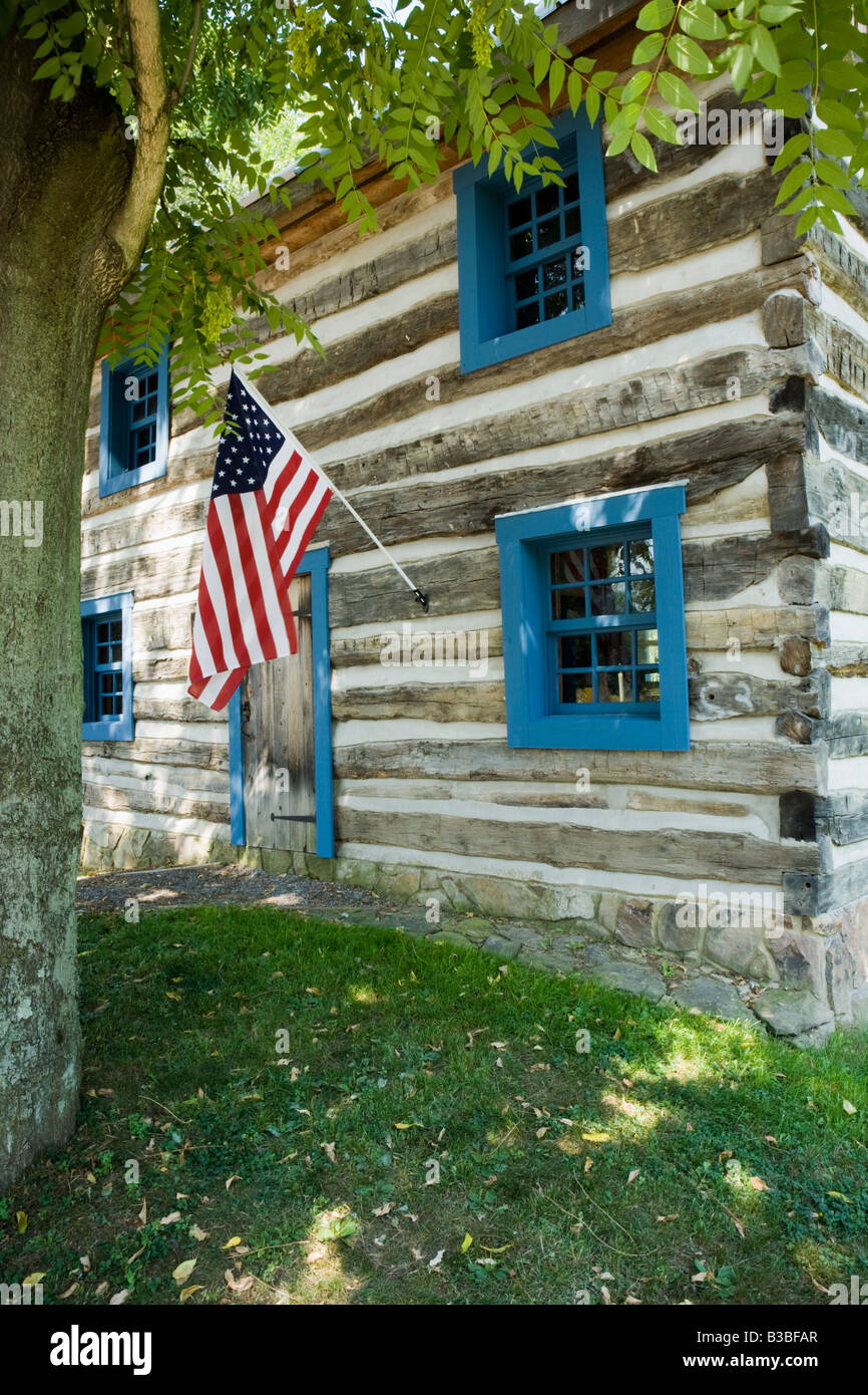Log cabin Harmony Pennsylvania former religious communal society of Rappites aka Harmonists - Stock Image