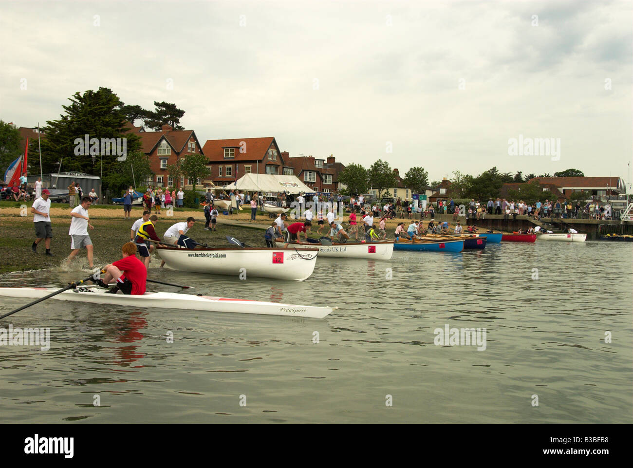 Hamble River Raid Charity Rowing Race on the Hamble River Stock Photo