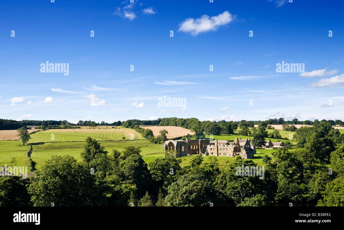 Ruins of Egglestone Abbey and English landscape of County Durham, England, UK - Stock Image