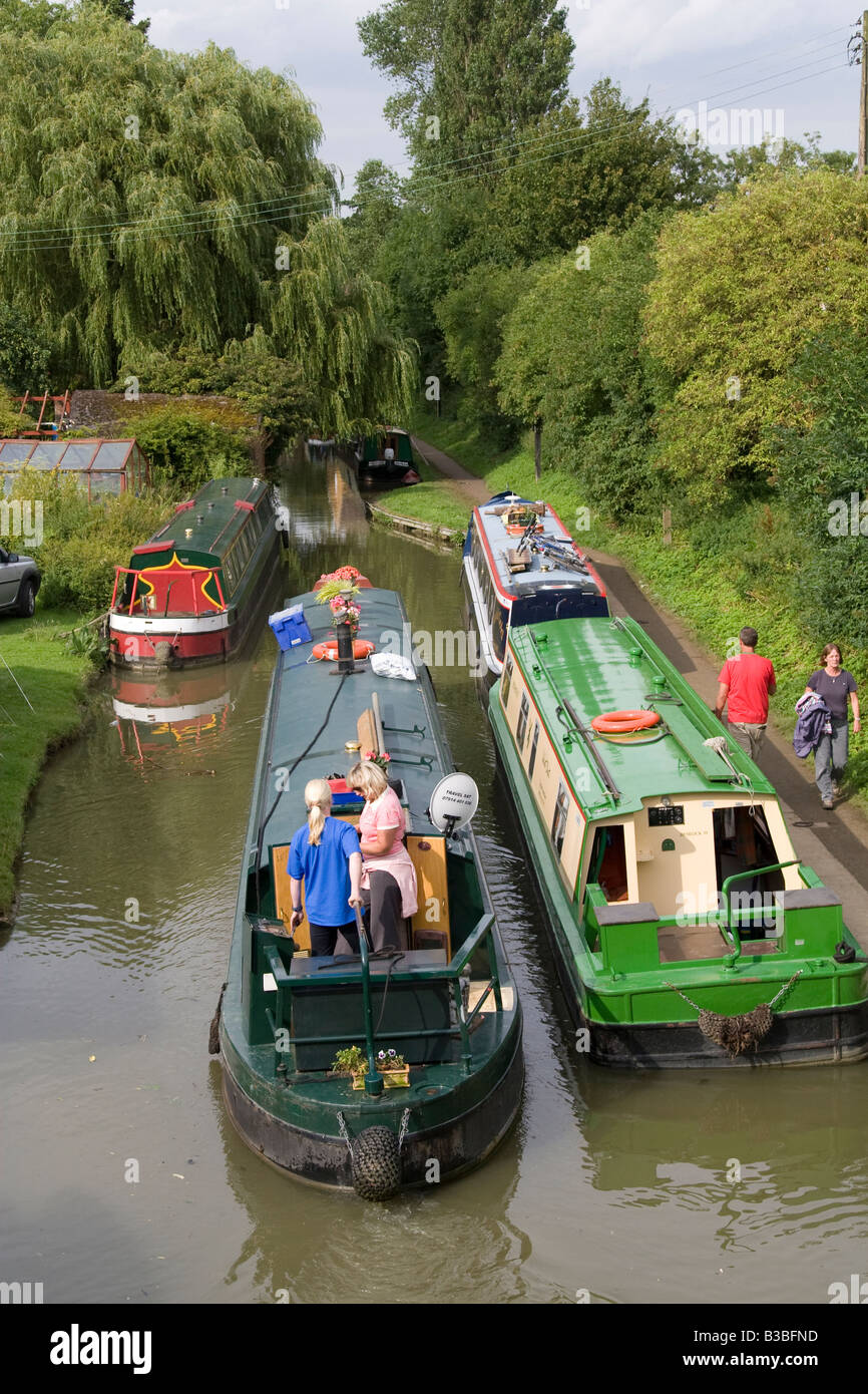 narrowboats on the Oxford canal at Cropredy during Fairport s Cropredy Convention music festival 2008 near Banbury - Stock Image