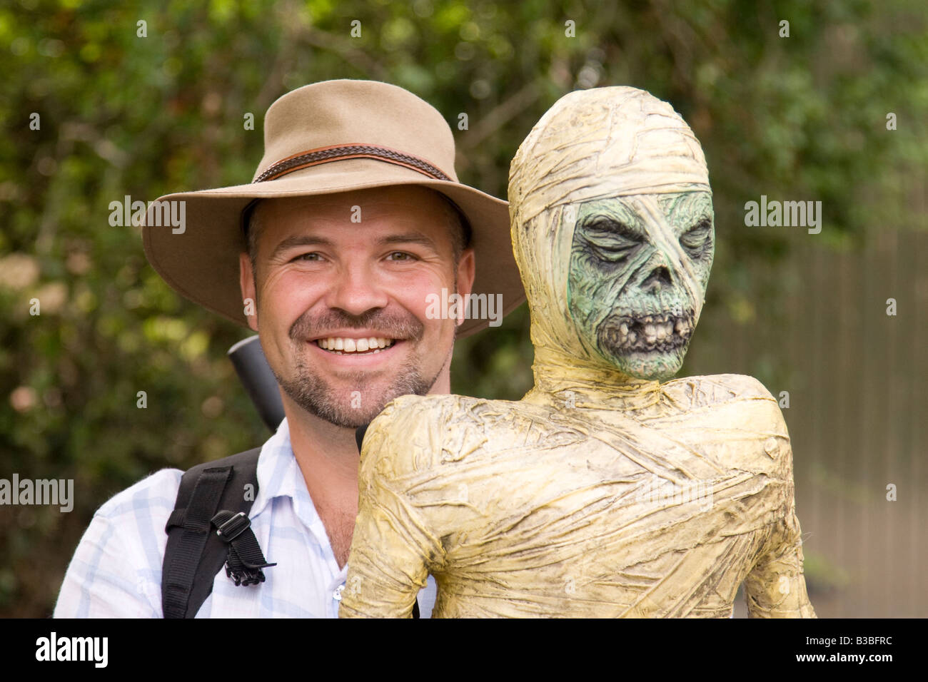 a visitor and ghoulish dummy at Fairport s Cropredy Convention music festival 2008 near Banbury England UK - Stock Image