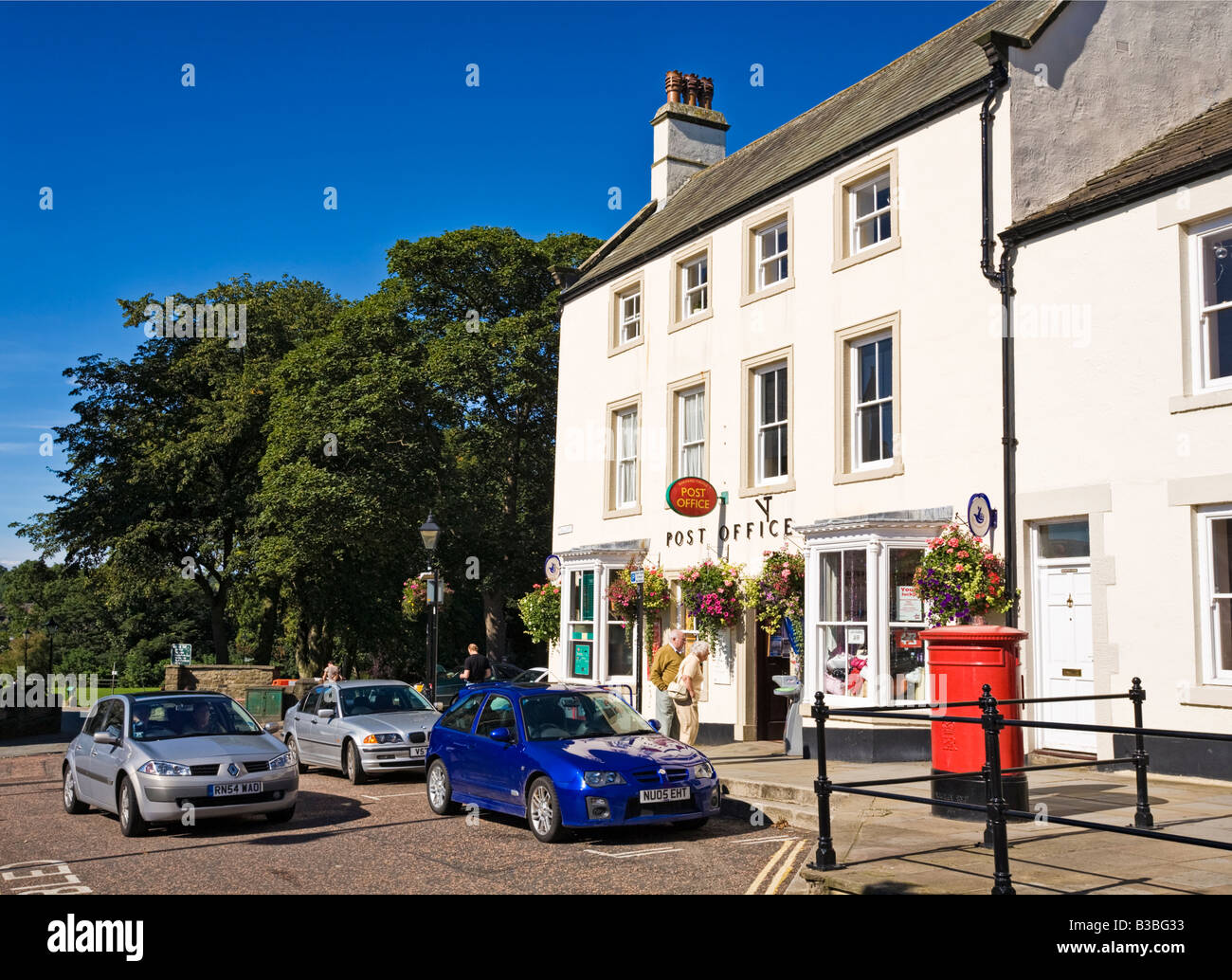 Small colourful British Post Office at Barnard Castle, County Durham, England, UK - Stock Image