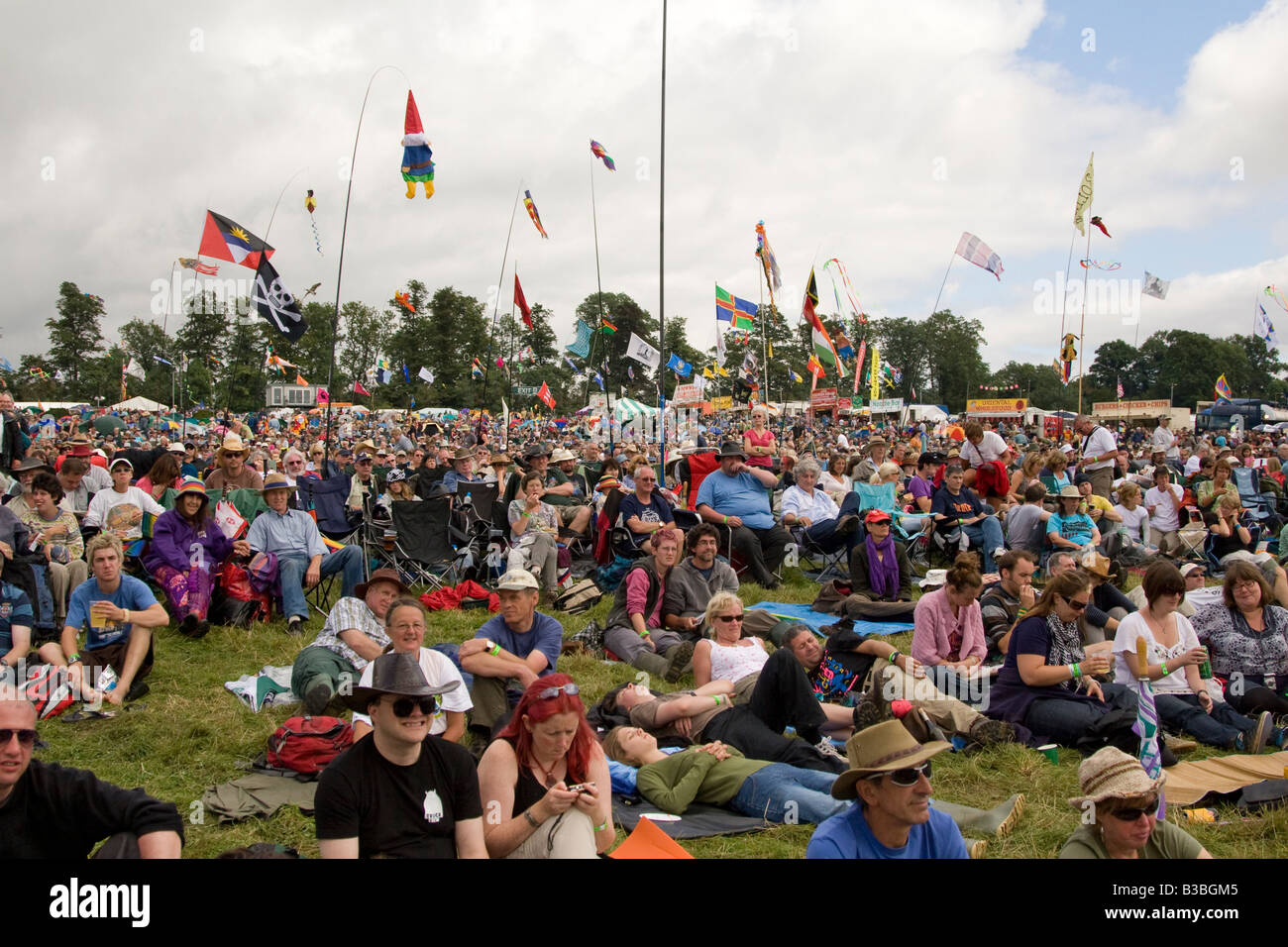 the crowd at Fairports Cropredy Convention music festival 2008 near Banbury England UK - Stock Image