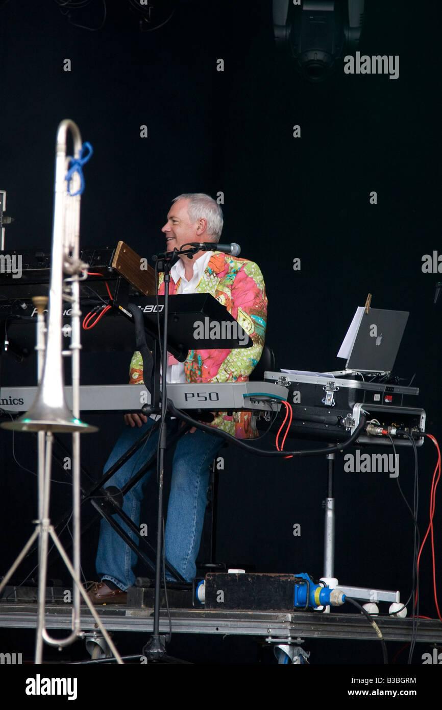 Glenn Tommey of Stackridge at Fairport s Cropredy Convention music festival 2008 near Banbury England UK - Stock Image