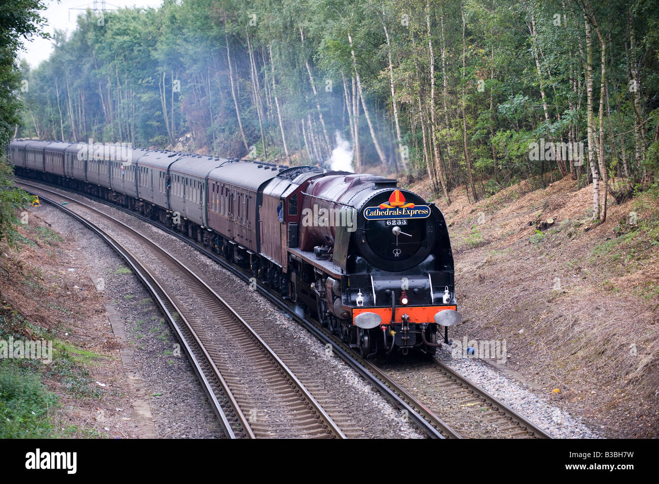 Duchess of Sutherland hauling The Cathedrals Express - Stock Image
