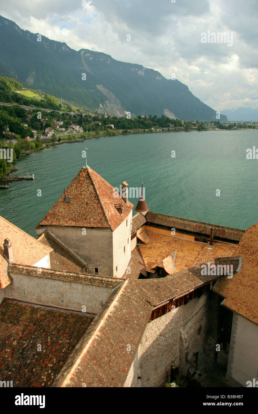 Montreux.Chillon castle. - Stock Image