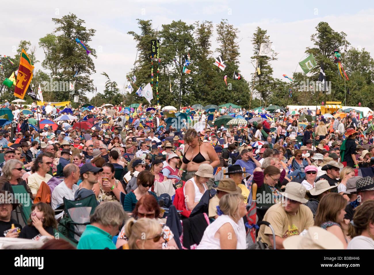 general crowd scene at Fairport s Cropredy Convention music festival 2008 near Banbury England UK - Stock Image
