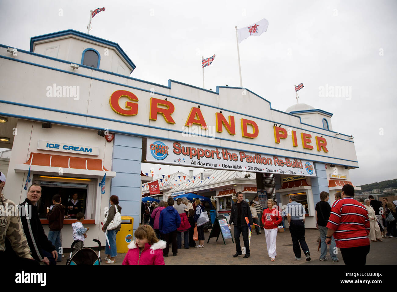 Entrance to the Grand Pier Weston Super MAre which suffered a large fire recently - Stock Image