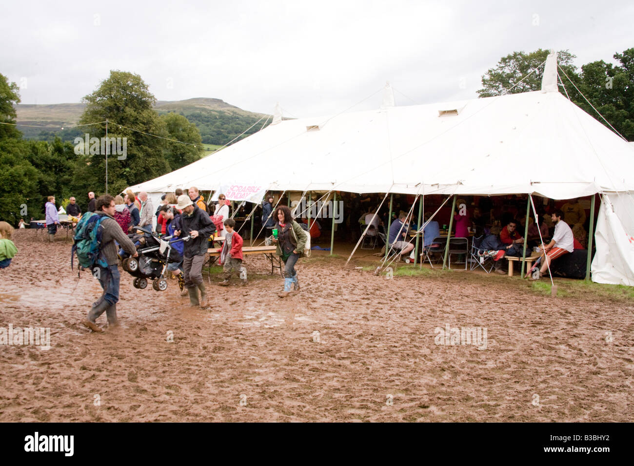 The beer tent and bar at the Greenman festival 2008 Glanusk Park Brecon Beacons Wales U K - Stock Image