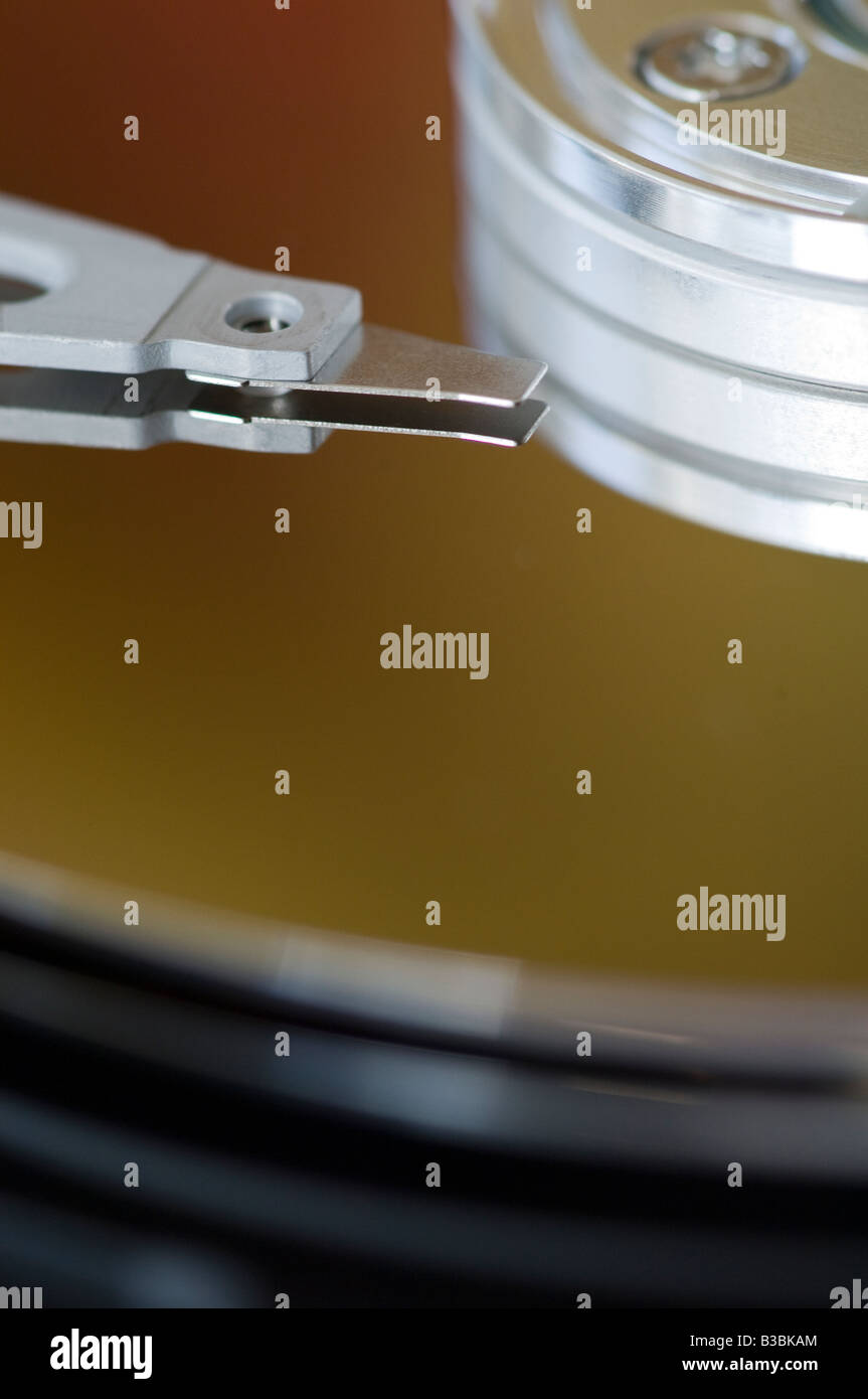 Close up of the platters on a hard disc drive - Stock Image
