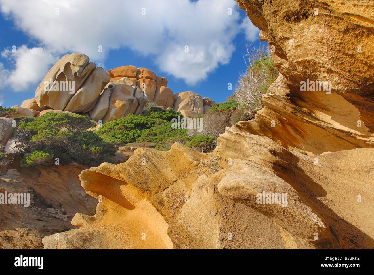 Rock formations Capo Testa Gallura Sardinia Italy - Stock Image
