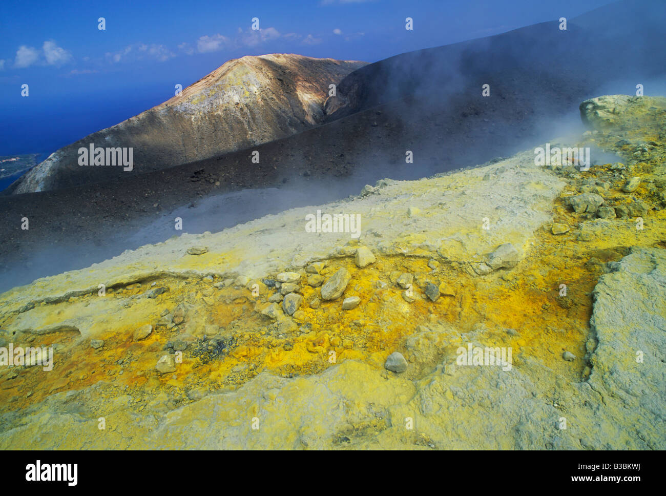Steam vents with sulfur in crater, Vulcano, Vulcano Island, Aeolian Islands, Sicily, Italy - Stock Image