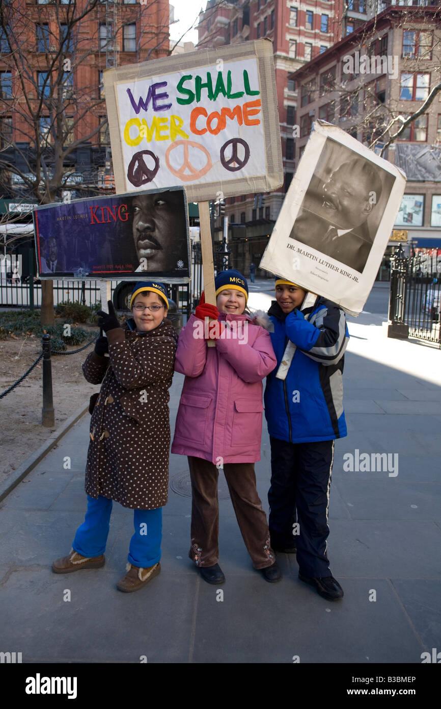 Martin Luther King Day parade MLK social awareness - Stock Image