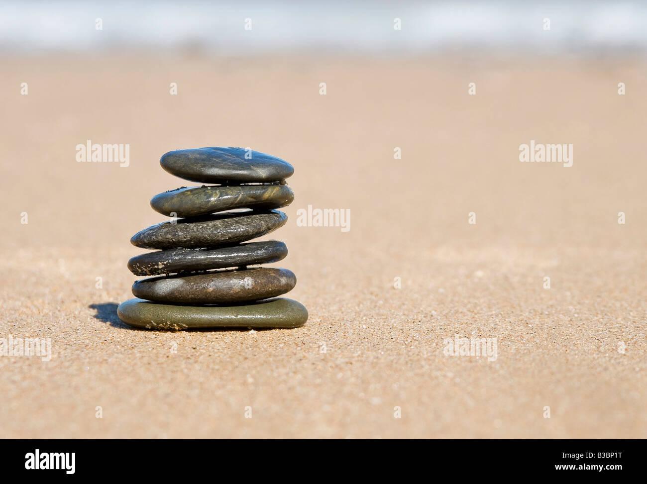nice balancing stones representing stability and balance - Stock Image