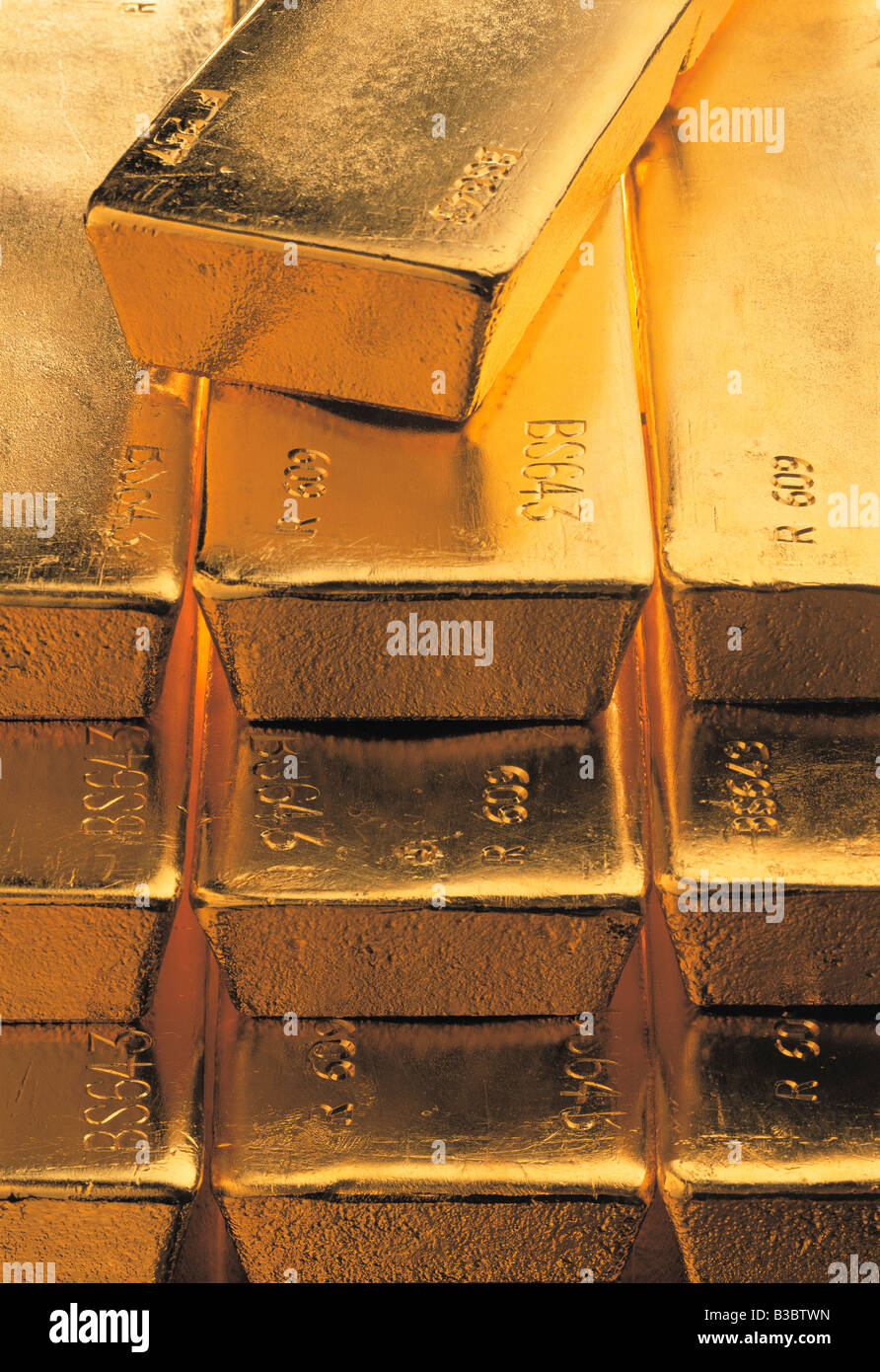 Close-up of stacked gold bars - Stock Image