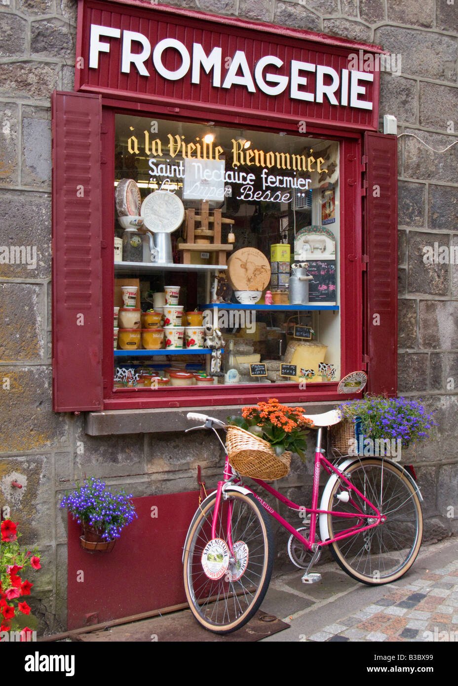 fromagerie shop in village of besse - et - st. Anastaise , auvergne , France - Stock Image