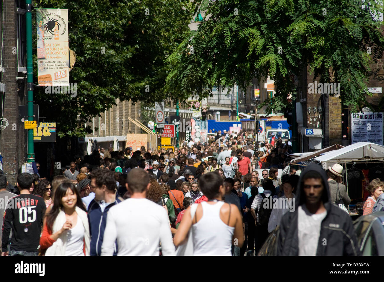 Crowds in Brick Lane Market. Shoreditch, Tower Hamlets, London, England Stock Photo