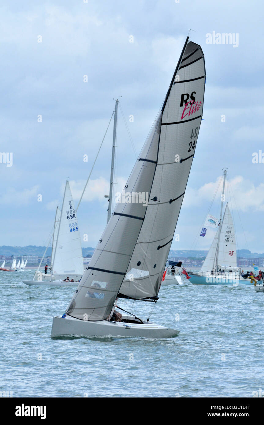 yacht racing during cowes week on the isle of wight - Stock Image