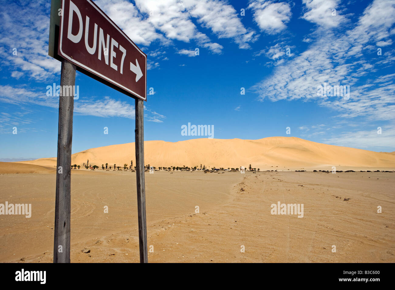 Namibia, Skeleton Coast, Walvis Bay. The sign to the popular tourist dune of Dune 7 located near to Walvis Bay and - Stock Image