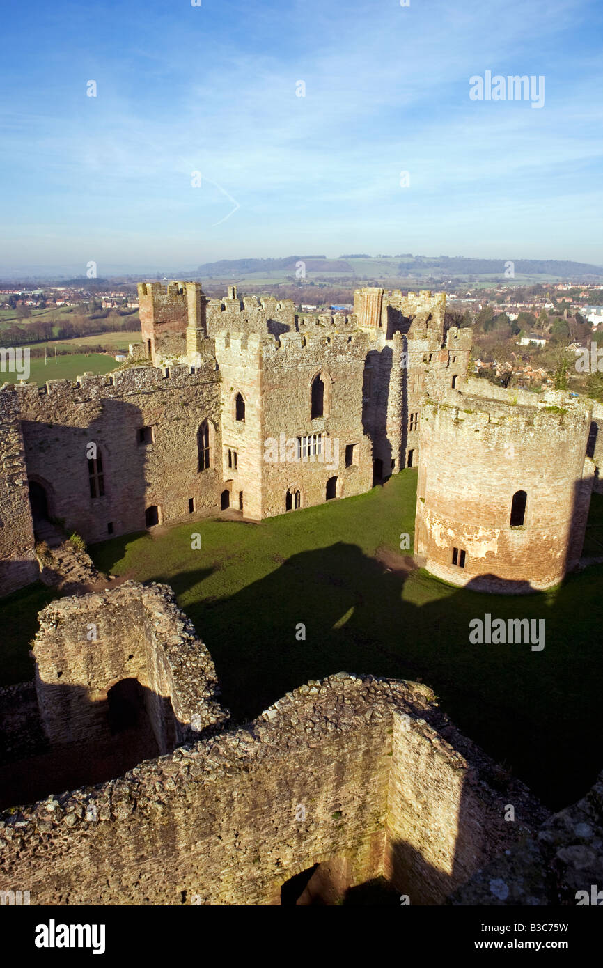 England, Shropshire, Ludlow. Ludlow Castle - firstly a Norman Fortress and extended over the centuries to become - Stock Image