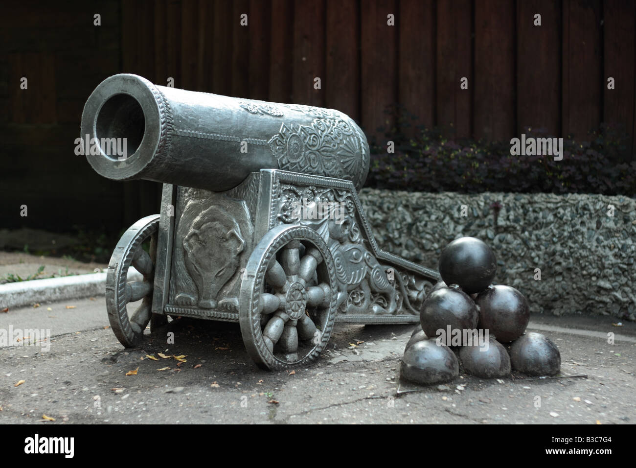 Old cannon at armour exibition in Russia - Stock Image