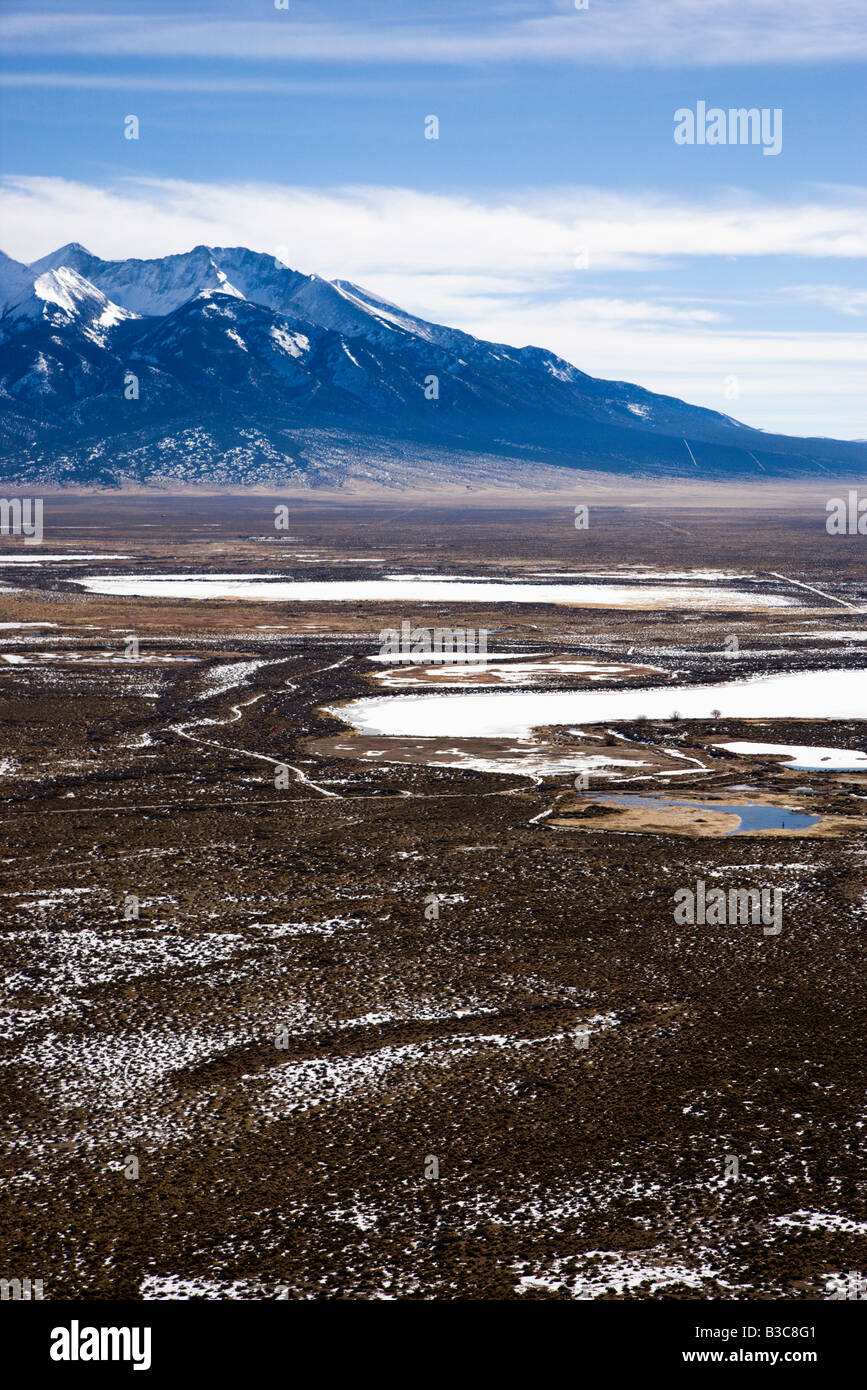 Aerial scenic landscape of mountains and plains in rural Colorado United States Stock Photo
