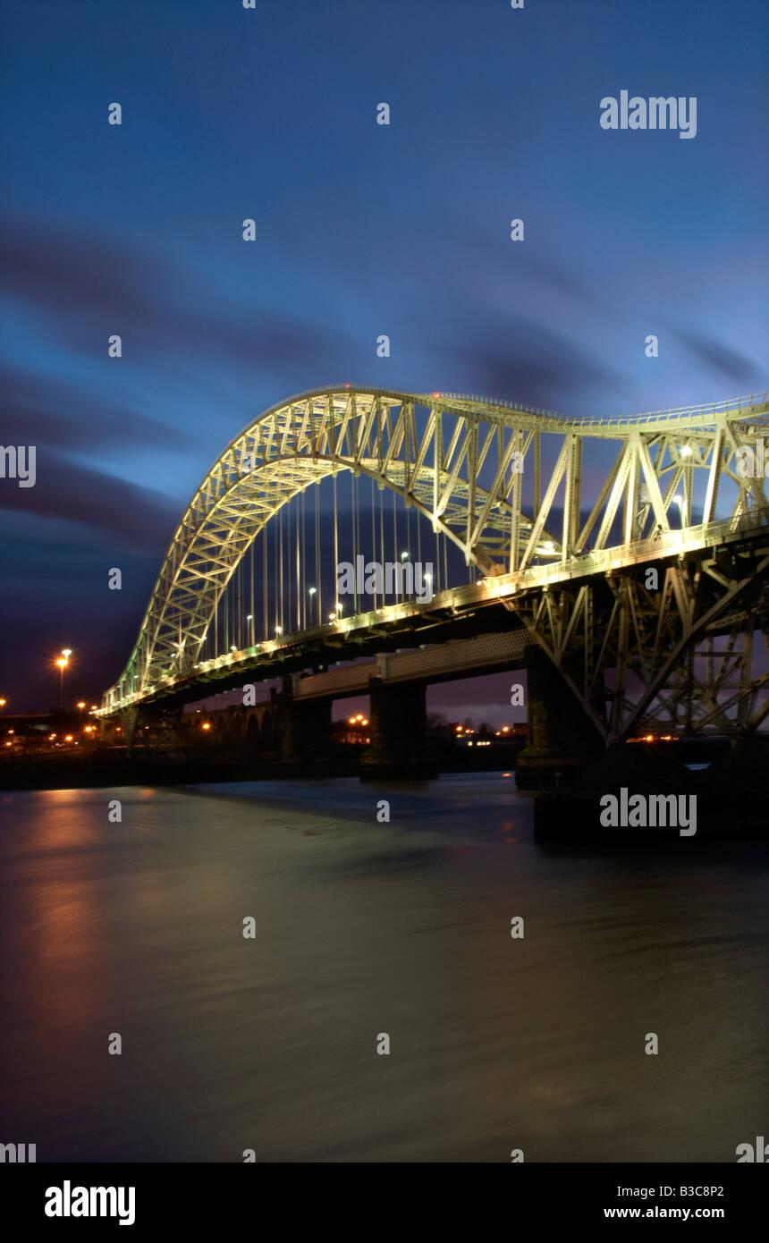 The Runcorn Road Bridge Runcorn Cheshire UK - Stock Image