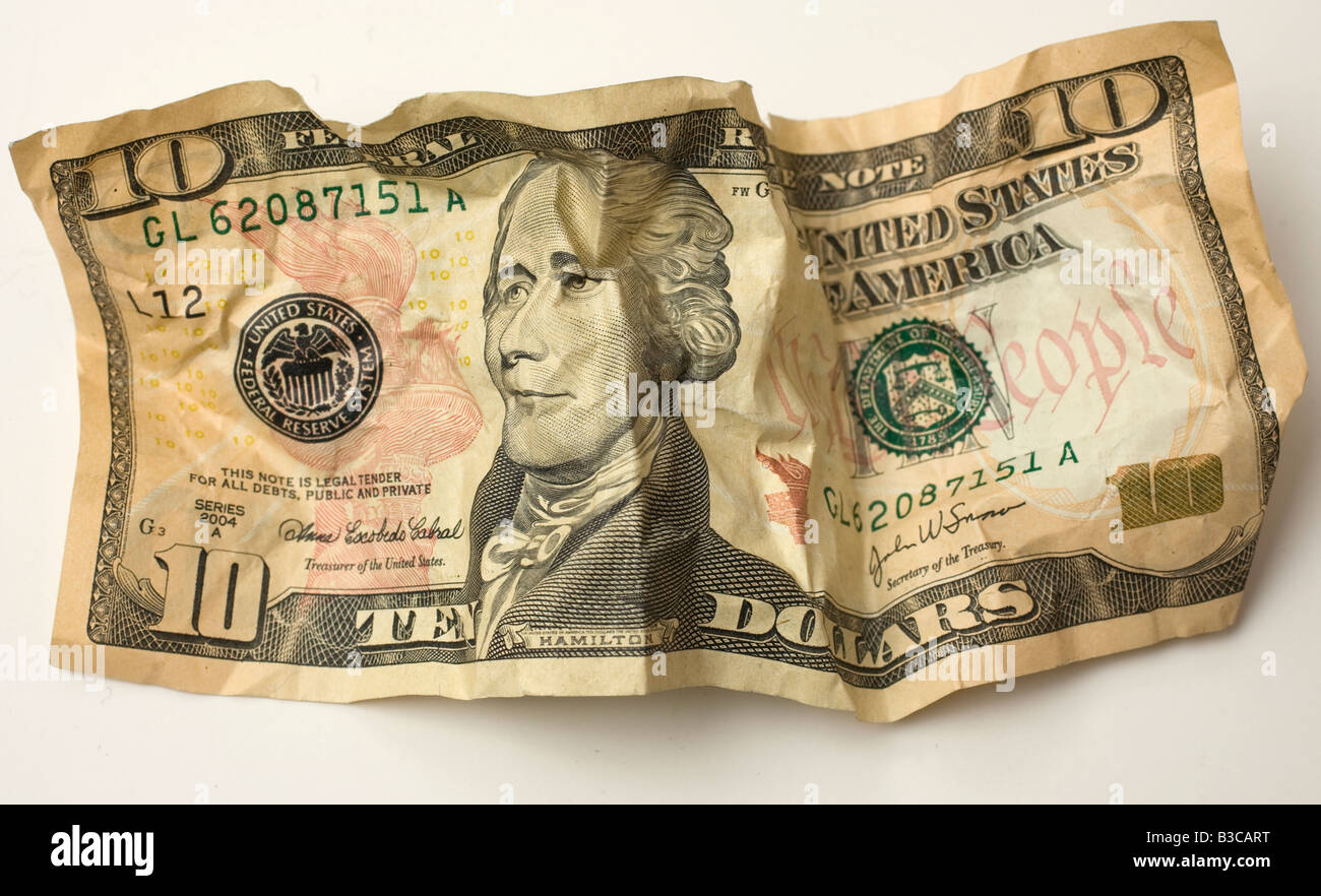 Crumpled ten dollar $10 US bill Stock Photo