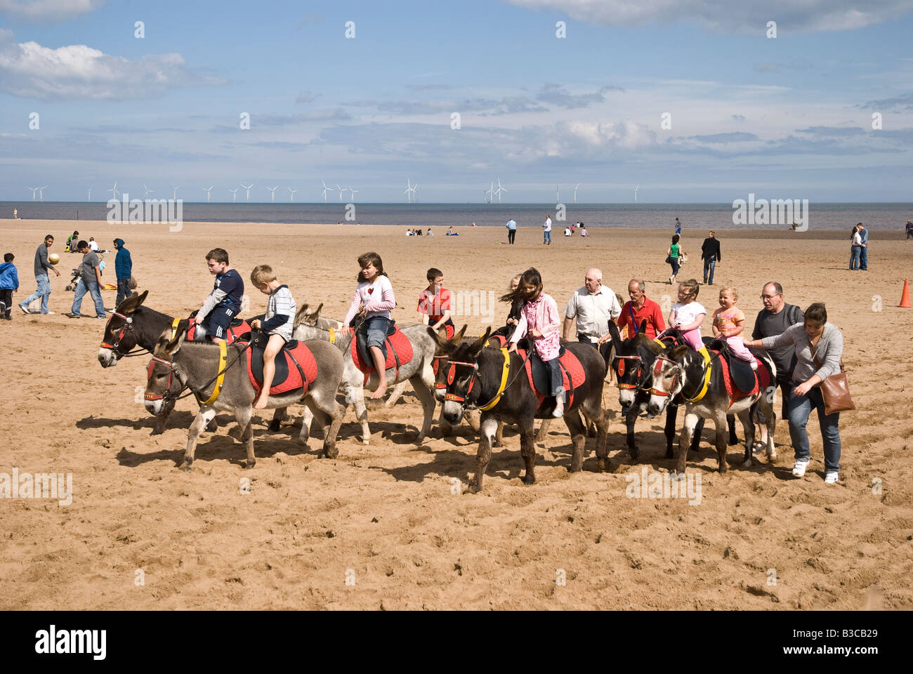 Donkey Rides on Beach at Skegness Lincolnshire UK Stock Photo