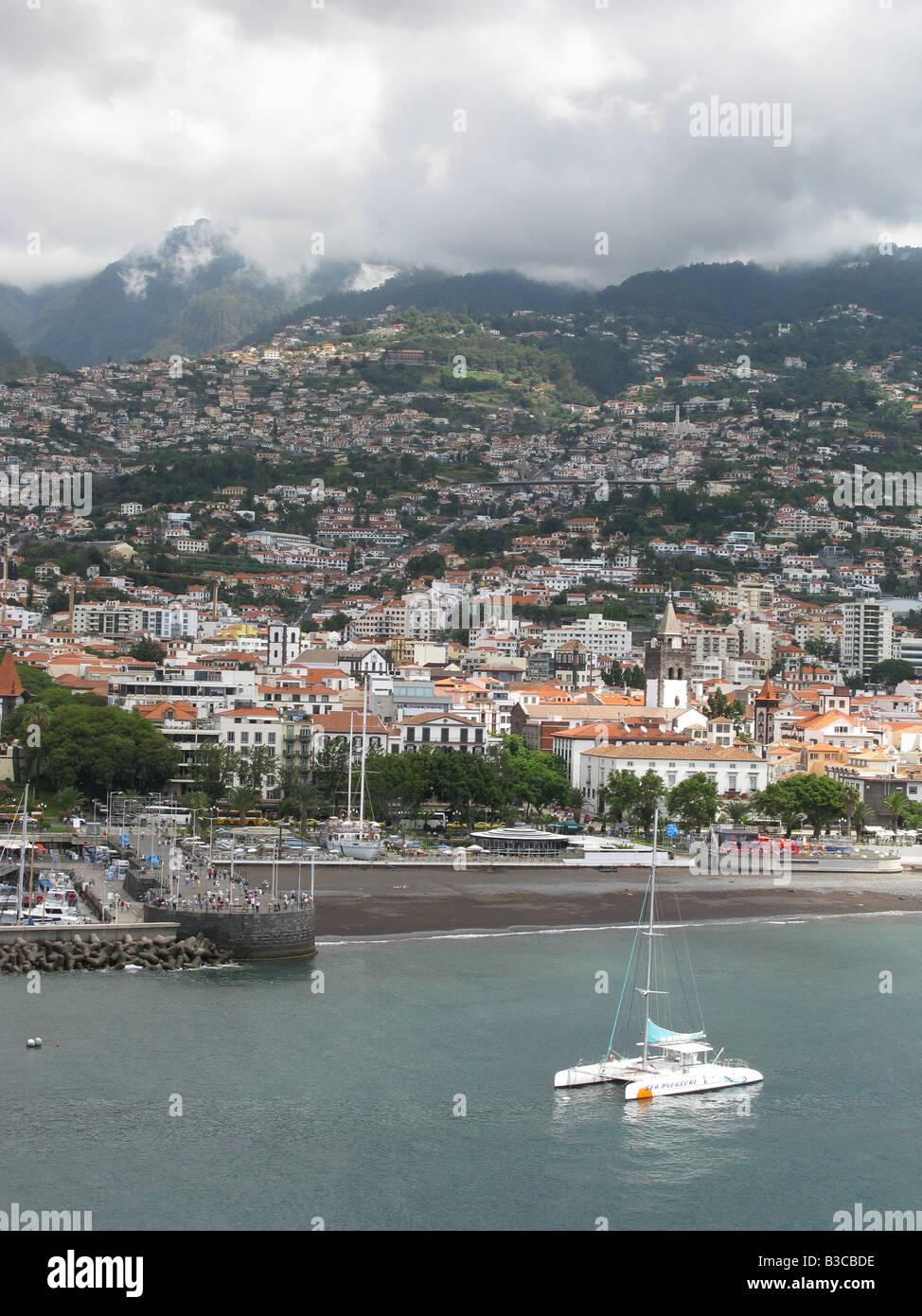 Seafront on the Portuguese island of Madeira. Funchal, Madeira, Portugal, Europe - Stock Image
