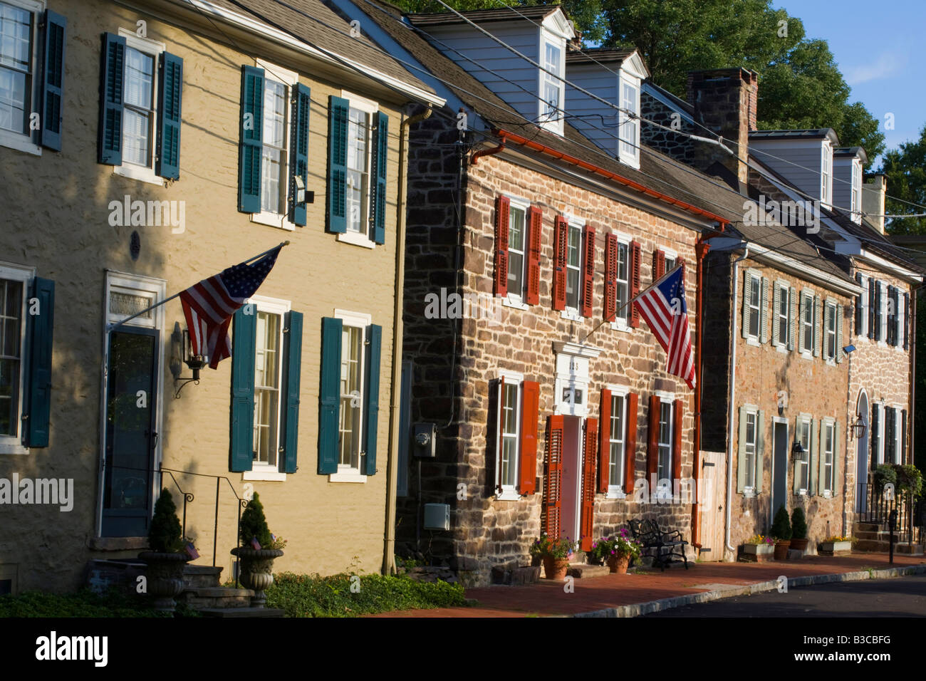 Business district of Newtown Bucks County Pennsylvania - Stock Image