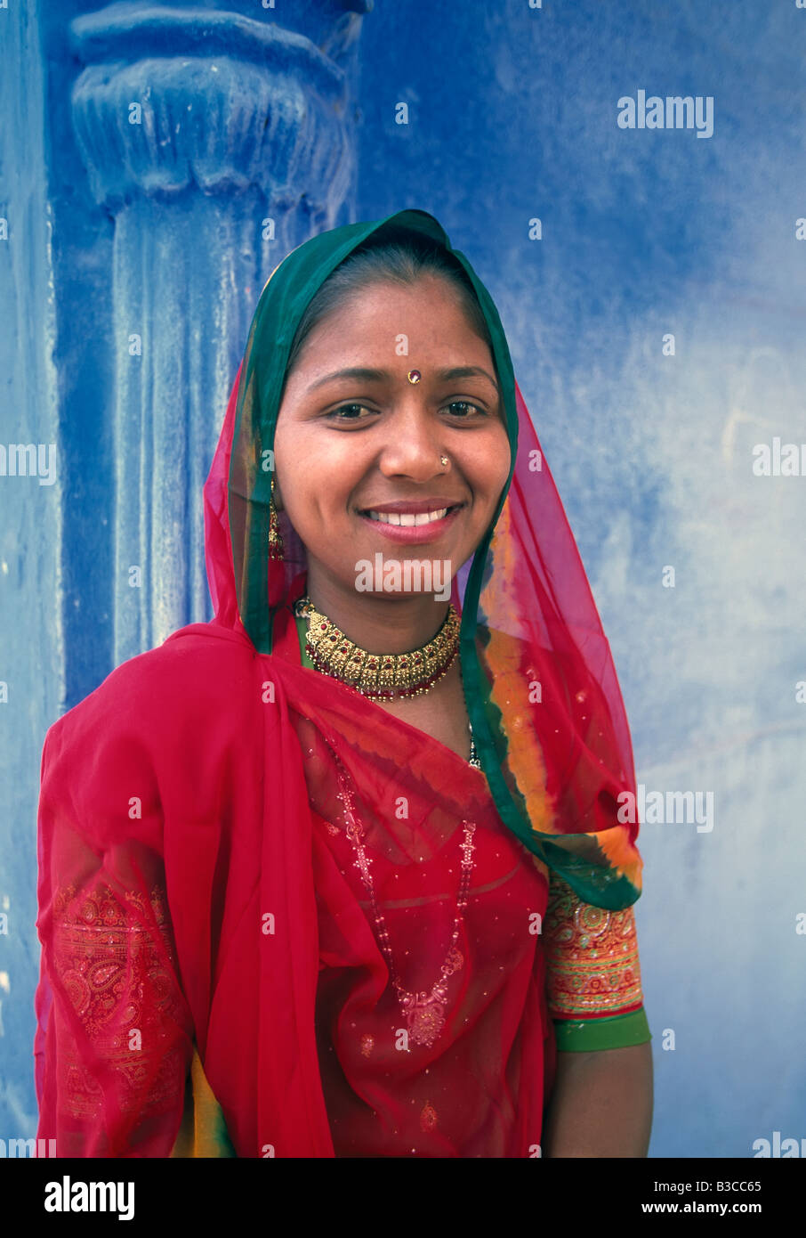 Portrait of a local woman in the Blue City Jodhpur Rajasthan State India Asia Stock Photo