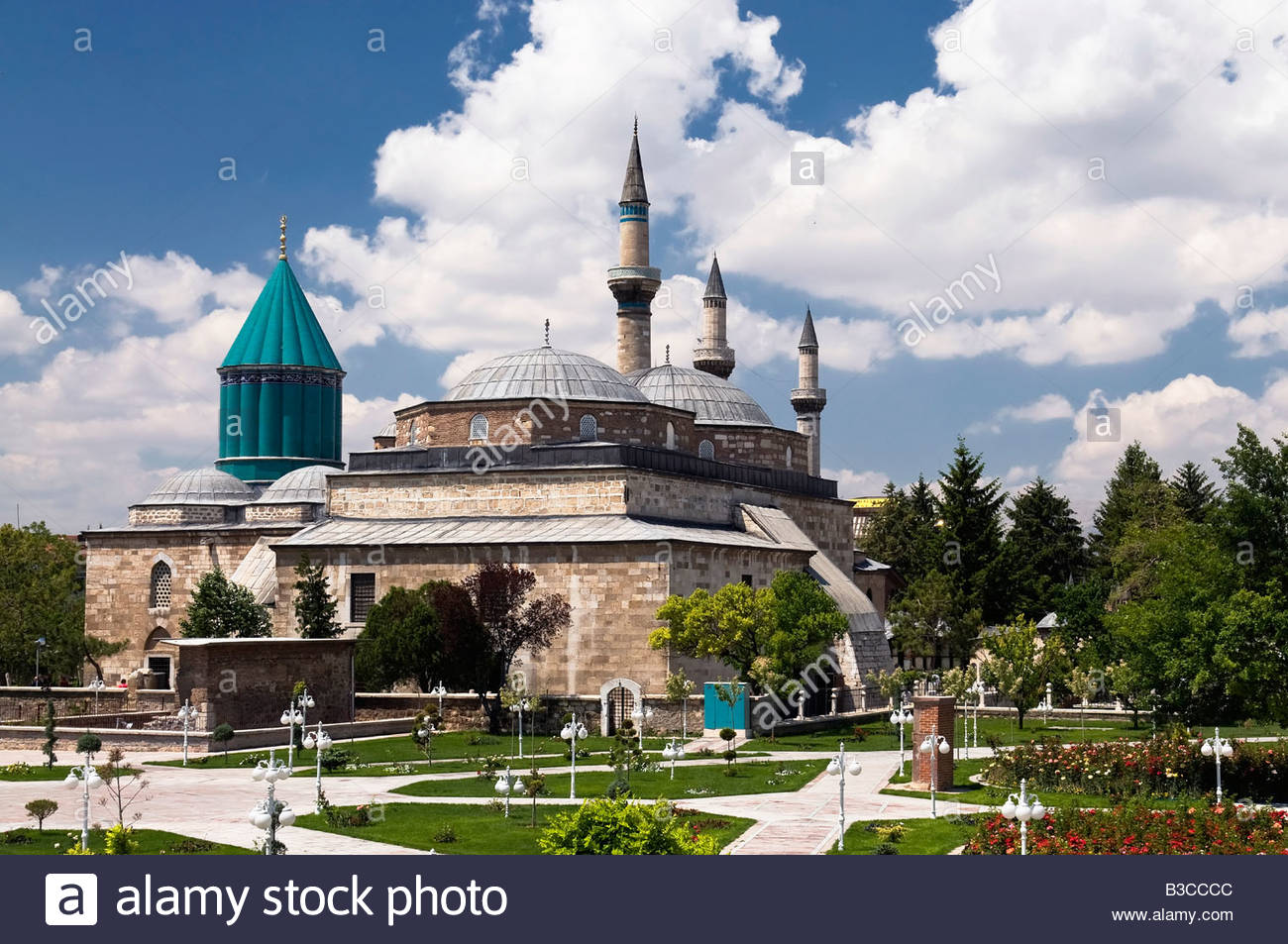 Tomb of Mevlana C. Rumi and Museum at Konya - Stock Image