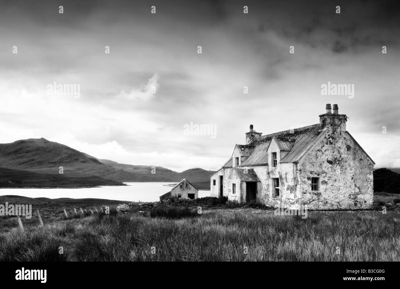 Deserted farm near Arivruach, Isle of Lewis, Hebrides, Scotland, UK - Stock Image