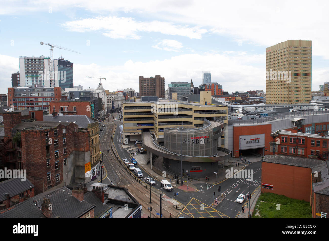 Aerial view Manchester UK - Stock Image